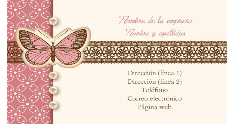 Tarjeta de Visita Doble Cara Mariposa