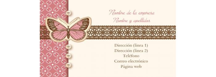 Tarjeta De Visita Doble Cara Mariposa Mi Tienda